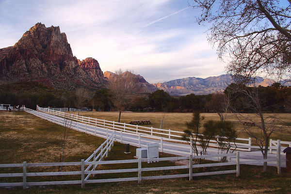January 21, 2006 - Visiting Spring Mountain Ranch State Park in Las Vegas, Nevada. It's late afternoon and the sun has gone behind the cliffs. I can picture the grass green in the Spring.