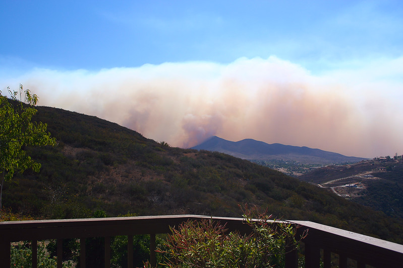 Monday, October 22 - The Harris fire in San Diego County. Taken from our deck looking south.