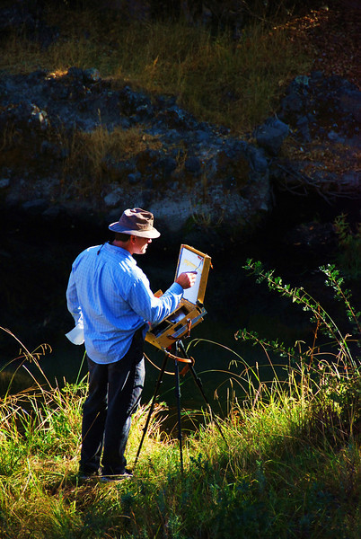 2008.10.26 (Sun)- Nice easy day, I dropped B off at church early and then Robin and I skipped church to go for a 6 mile walk down secret ravine.  <br /> <br /> The walk was very nice, on the way back to the car we happened across this man painting near the creek.  I thought it was cool and grabbed this shot.  Picked up B, then went grocery shopping.<br /> <br /> Later we stopped off to see Penny and Terry, got the email working for them and hung out for a bit before stopping off at my parents for a brief visit.  Then back home for a movie and then dinner.<br /> <br /> Hope you all had a nice weekend.<br /> <br /> Darron
