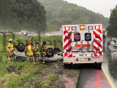 A Subaru overturned during an accident reported at 4:44 p.m. Monday on Interstate 79.  Officials at the scene said there were no eye witness accounts of the accident, only the report of a car in a ditch in the northbound lane past mile marker 91. Units from the Lancaster Township police department, Harmony fire and EMS and Pennsylvania State Police responded. Additional information was unavailable at the scene.  J.W. Johnson Jr./Butler Eagle