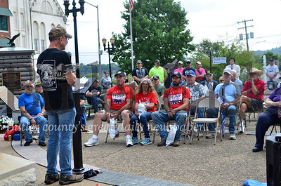 Mike Snapp, a Firearm Owners Against Crime member, speaks to the crowd in Butler Saturday.