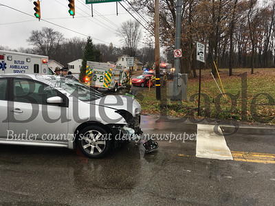 The driver of this car suffered minor injuries in a two-car accident at intersection of Meridian and Whitestown roads in Butler Township on Saturday.