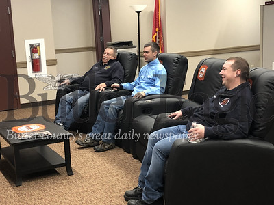 Photo by J.W. Johnson Jr.Cranberry Township Volunteer Fire Department members, from left, Chuck Dohn, Tim Barch and Sean Morrison relax in a newly remodeled living space at the department's Haine Station.