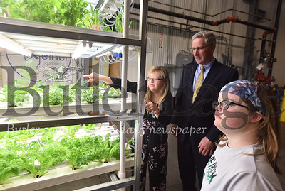 10099 The state Secretary of Agriculture  Russell Redding visited Growing Together Aquaponics in Slippery Rock, which employs young people with disabilities at North Country Brewing warehouse