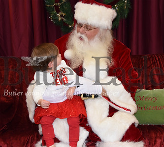 Ott Quarles meets with children during Santa's First Stop at the Cranberry Township Municipal Building earlier this month.