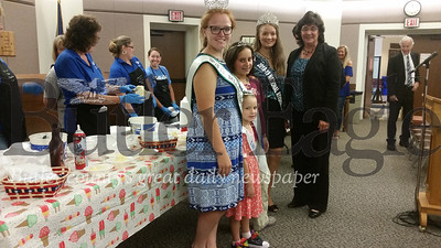 Pictured from left are: Butler County Miss U.S. Agriculture Maggie Rasp; Butler County Lil' Dairy Miss Kirra Cress; Butler County Dairy Miss Morgan Teets; National Ayrshire Queen Robin Peters; and Butler County Commissioner Kim Geyer.The group attended a free ice cream event on Friday at the county government center sponsored by the county Dairy Promotion Board.
