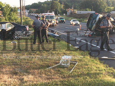 State police investigate two-vehicle crash on Route 8 in Penn Township that left both drivers seriously injured.