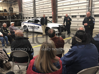Cranberry Township police Chief Kevin Myer, officer Christoper Maloney and Sgt. William Ahlgren speak to residents Tuesday at the township Public Works Building.Photos by J.W. Johnson Jr.