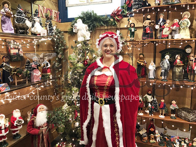 Photo by J.W. Johnson Jr.Mrs. Claus, portrayed by Vanessa Fatur, is getting ready for Christmas celebrations in Zelienople. 5 col.