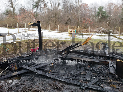 No animals or people were harmed when a fire completely destroyed a building in Clay Township on West Sunbury Road. 3 col.