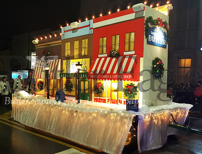 Harold Aughton/Special to the Eagle: Employees of Peoples Gas volunteered hours to build a float replicating downtown Butler for the annual Christmas parade.