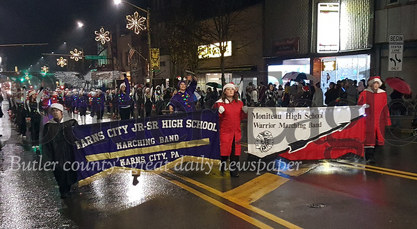 Harold Aughton/Special to the Eagle: The Butler High School Marching Band were among several high school bands, including Moniteau and Karns City that made an appearance during the annual Butler Christmas Parade.
