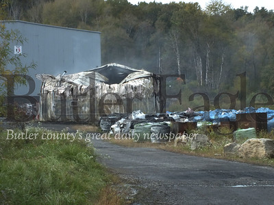 A building at an Industrial plant on Branchton Road is a total loss after a fire last night