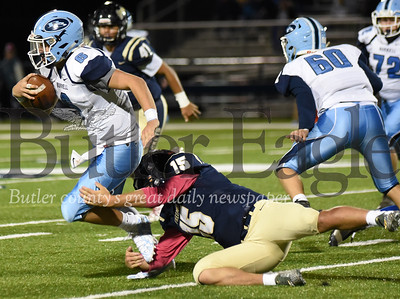 Freeport's Garrett Schaffhauser sacks Logan Phillips during the third quarter of the football game at Freeport Area High School on Friday Oct. 12, 2018 (Photo By: Kathy Kemp)