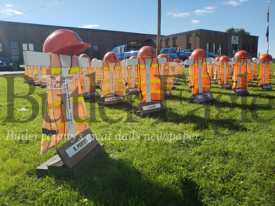 A traveling memorial for PennDOT workers who have been killed on the job is on display in Butler until Oct. 22.