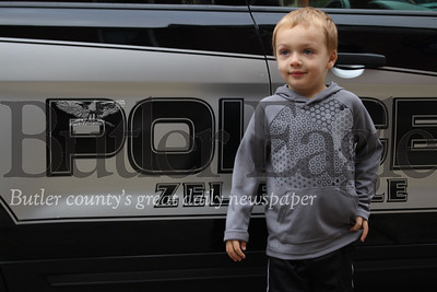 """Maddox is obsessed with cops,"" his father, Mike VanDeusen said. photos by Caleb Harshberger"