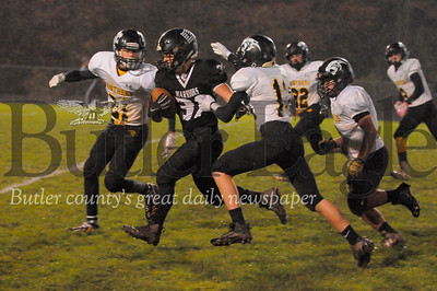 Moniteau #32 Austin Yeager is chased by Keystone #13 Alex Rapp and #21 Hunter Langharst during a game at Moniteau Stdium on Friday October 26, 2018 (Jason Swanson photo)