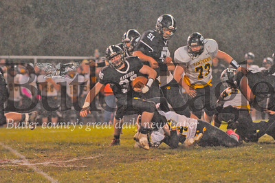 Moniteau #36  Nick Martino is tackled by Keystone #24 Nick Weaver during a game at Moniteau Stdium on Friday October 26, 2018 (Jason Swanson photo)