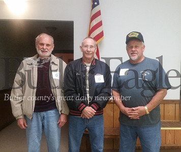 Pictured from left are Vietnam veterans and friends Dave Sherman, Tom Edwards and Stan Zielinski, who attended the first Veterans Breakfast Club held in Butler County.The event, held on Monday morning at American Legion post 778 in Lyndora, drew almost 100 veterans. Many shared their wartime stories and photos.