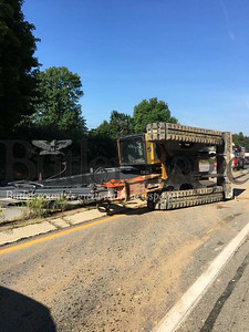Road crews have closed the passing lane on I-79 North and driving lane on I-79 South, which are situated on two parallel bridges, and restricted traffic to a single alternating lane on Route 68 running under them. (photo by caleb harshberger)