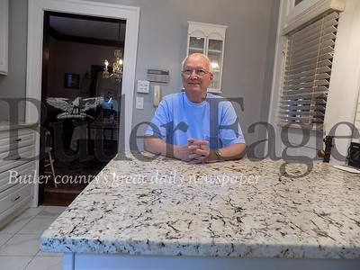 (Taken by Alexandria Mansfield) Joe Lutz, 90, of Butler, recently remodeled the kitchen of the home he's lived in for 53 years. He said his favorite part of the upgrades is the peninsula to which he can pull up a stool and read.