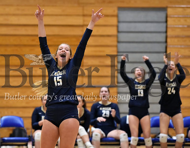 Knoch #15 Kerrie Fitzpatrick celebrates after winning game 2 over  Armstrong in a  WPIAL 3A girls volleyball game at Knoch high school on Monday  September 17 , 2018..(Justin Guido photo)