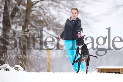 Butler County Humane Society kennel assistant Maddy Chechak of Portersville takes an excited year-old lab-pitbull mix named Marissa for a romp in the snow Wednesday behind the animal shelter. Seb Foltz/Butler Eagle