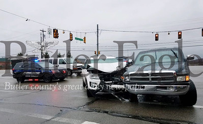 Two vehicles, an SUV and a pickup truck, were involved in the accident at the intersection of Route 228 and Heritage Creek Drive in the township.Photo by Samantha Beal
