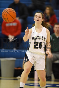 Harold Aughton/Butler Eagle: Butler's Emma Monteleone dishes it off against Pine-Richland Thursday, December 19, 2019.