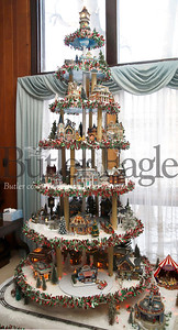 While not quite as elaborate as it once was, eighty-year-old Ernie Taylor's seven-tier Christmas model display remains an elaborate project every year. Taylor said he will continue to add to it up until Christmas. Earlier in life he would build the entire setup on Christmas eve. Seb Foltz/Butler Eagle