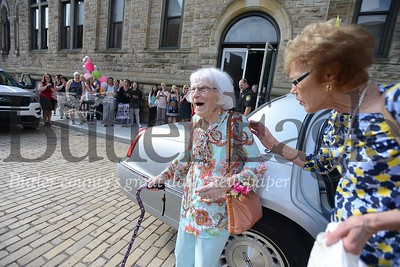 87201  Helen Knauer who turned 100 had a limo and police escort to work at the Butler County Clerk of Courts office in the courthouse