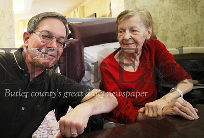 Bill and Joan Geibel pictured here at St. Barnabas Health System in Valencia. Joan Geibel is one of five residents in the Memory Care Program using new virtual reality to improve sociability and reduce anxiety. Her son Bill Geibel said he's noticed the program has improved his mother's mood and has given her new experiences she otherwise could not have had. Photos by Caleb Harshberger