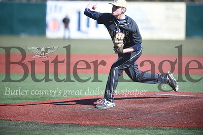 Harold Aughton/Butler Eagle: Senior pitcher Josh Grigoletti of Butler rips one across the plate against Shaler.