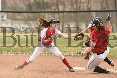Slippery Rock's Taylor Balint attempts to make a play at second in Wednesday's loss to Hickory.