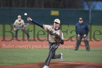 Butler's Austin Rodgers struggled Monday night against Pine Richland.