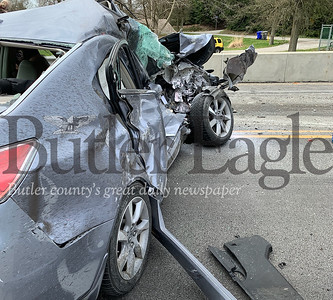 Pics from Amanda Ristity. Accident on route 356/Freeport Road  at the crossroads intersection where Simon Dr. crosses over 356 onto Caldwell Dr. Driver of this car was at the stop sign at the end of Simon Dr and trying to cross over onto Caldwell drive.
