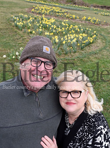 Harold Aughton/Butler Eagle: Emily Milich-Franusich and her husband Mike have planted more than 7,000 daffodils in honor of Emily's sister, Marsha Milich.