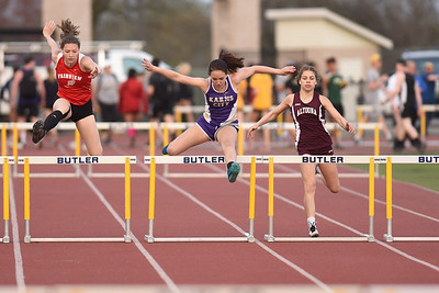 Karn City's Chavon McCanna in 300m hurdles at Butler Invitational. Seb Foltz/Butler Eagle (Weekend story for Mike.)