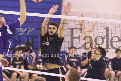 Butler's Sam Lambermont (left) and Luke McEachin go for a block against Hempfield. Seb Foltz/Butler Eagle