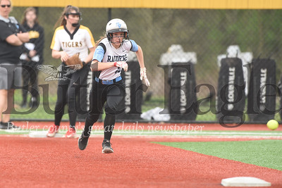 Seneca's Julia Ehrman charges to second base during Tuesday's come-from-behind win over North Allegheny. Ehrman scored the Raiders first run.