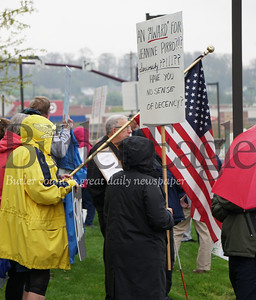 Judge Jeanine Pirro was to speak St. Barnabas Founder's Day, Thursday at the Pittsburgh Marriott North in Cranberry Township.  She did not appear. However protestors did. Photo by J.w. Johnson  Jr./Butler Eagle.