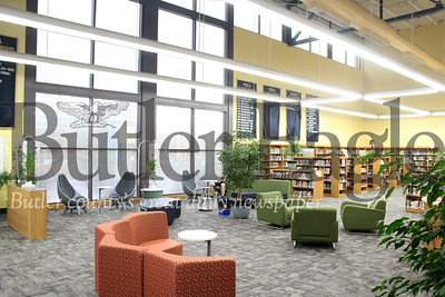 Harold Aughton/Butler Eagle: The Knoch High School library has been transformed into a 21st century learing space where the life-skills students gain valuable experience while serving fellow students coffee and snacks. The library also has computer stations, white boards, and a conference room.