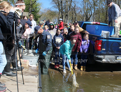 Harold Aughton/Butler Eagle: Butler Intermediate High School teacher Dave Andrews watches from his truck as his students release the catfish they raised in class into Glade Run Lake, Saturday, April 27.