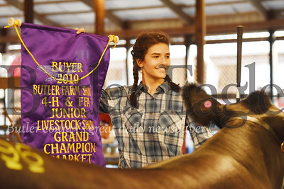 Harold Aughton/Butler Eagle: Kaitlin Eichenlaub, 17, of Saxonburg, won the Grand Chmapion for her Steer, Rosco.