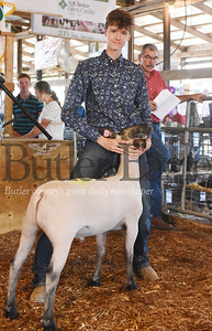 Harold Aughton/Butler Eagle: Austin Miller, 16, of Saxonburg shows off his Grand Champion lamb, Peter, Thursday night during he 4-H-FFA Livestock Auction at the Butler Farm Show.