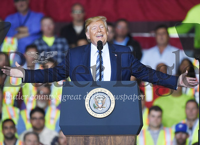 Harold Aughton/Butler Eagle: President Donald Trump fires up the crowd at the Shell Pennsylvania Petrochemicals Complex in Monaca Tuesday, August 13.