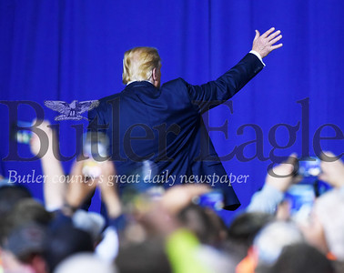 Harold Aughton/Butler Eagle: President Donald Trump exits the rally held at the Shell in Monaca, Tuesday, August 13, 2019.