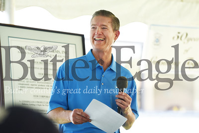 Harold Aughton/Butler Eagle: Bill Prettyman, CEO/President of Wise Business Forms address employess, friends and vendors as Wise Business Forms celebrates its 50 Anniversary Monday, August 19. 2019.