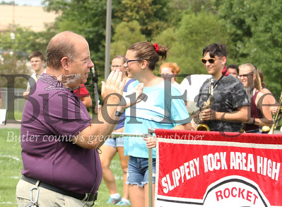 Slippery Rock High School marching band director Les Fine leads band practice Wednesday. 082219 Sebastian Foltz/Butler Eagle