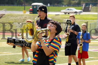 Heidi Watterson plays her french horn during marching band practice Tuesday at Karns City. Seb Foltz/Butler Eagle 082019